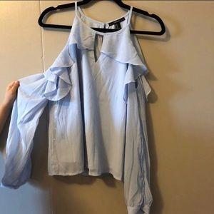 Light blue cold shoulder blouse